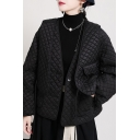 Fancy Women's Jacket Quilted Design Solid Color Button Closure Drawstring Waist Long Puff Sleeves Relaxed Fit Jacket
