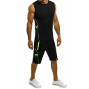 Sporty Men's Set Contrast Stitching Round Neck Sleeveless Slim Fitted Tee Top with Shorts Co-ords