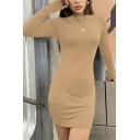 Casual Women's Bodycon Dress Solid Color Mock Neck Long-sleeved Slim Fitted Short Bodycon Dress