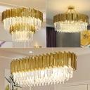Oval/Drum K9 Crystal Rod Pendant Light Post-Modern Living Room LED Chandelier Lamp in Gold, 19.5