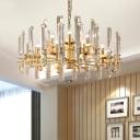 Gold Sputnik Chandelier Postmodern Fluted Crystal 15 Bulbs Dining Room Hanging Ceiling Light