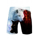Hot Fancy Contrast Wolf Print Drawstring Waist Sports Shorts