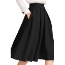 Leisure Simple Plain Pleated Midi Skater Skirt