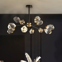 Crystal Gemstone Chandelier Lamp Modern 9 Heads Living Room Ceiling Pendant in Brass