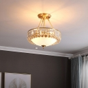 Classic Bowl Semi Flush Mount 4-Light Opal Glass Close to Ceiling Lamp with Crystal Side in Brass