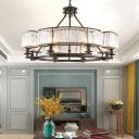 Circular Crystal Block Chandelier Contemporary 6/8/10 Bulbs Living Room Ceiling Hang Light in Black/Brass