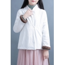 Fancy Women's Coat Solid Color Cotton And Linen Frong Button-down Long Sleeves Brushed Surplice Neck Regular Fitted Coat