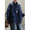 Womens Jacket Fashionable Faded Wash Ripped Patchwork-Hem Flap Pockets Front Zipper down Loose Fit Long Drop-Sleeve Mock Neck Denim Jacket