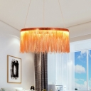 Stylish Modern Tassel Round Pendant Aluminum Chain Living Room LED Small/Large Chandelier in Silver/Rose Gold