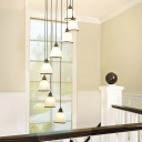 Metal Spiral Cluster Pendant Lamp Modern 6/8/12-Head Black/Gold Hanging Light with Bell White Glass Shade