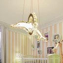 Novelty Kids Dolphin Pendant Light Crystal Encrusted Baby Room LED Chandelier Lamp in Clear