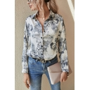 Designer Girls Flower Printed Long Sleeve Spread Collar Button-up Relaxed Shirt in Beige