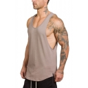 Trendy Men's Tank Top Solid Color Armhole Crew Neck Sleeveless Side Split Regular Fitted Tank Top