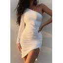 Hot Fashion Designer Unique One Shoulder Long Sleeve Plain White Mini Bodycon Dress