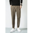 Leisure Men's Pants Solid Color Zip Fly Brushed Inner Side Pockets Long Tapered Pants