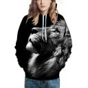 Black-gray Hoodie Wolf 3D Printed Long Sleeve Drawstring Loose Fit Cool Hoodie with Pocket