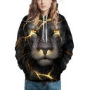 Mens Hoodie Long Sleeve Drawstring Lightning Lion 3D Pattern Pouch Pocket Relaxed Stylish Hoodie in Black-gold