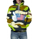 Mens Fashion Hoodie Camo Thumb Flag Cartoon 3D Printed Long Sleeve Drawstring Loose Fit Hoodie
