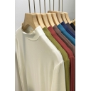 Casual Womens Tee Top Solid Color Long Sleeves Mock Neck Elasticity Regular Fitted Bottoming T-Shirt