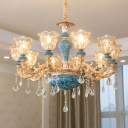 8/10/15 Bulbs Scalloped Chandelier Modern Glam Gold Clear Carved Glass Suspended Lighting Fixture