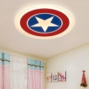 Star Patterned Round Acrylic Ceiling Lamp Cartoon White LED Flush Mount Light Fixture, Small/Medium/Large