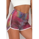 Trendy Women's Shorts Painted Pattern Contrast Trim High Elastic Waist Split Hem Fitted Yoga Shorts