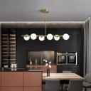 Brass Linear Island Light Fixture Postmodern 3/5/6-Head Clear/Cream Ball Glass Hanging Ceiling Light
