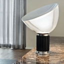Small/Large Postmodern Single Night Lamp Black/Silver Radar Table Light with White Glass Shade