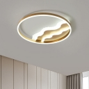 Circle Aluminum Ceiling Flush Mount Light Modern Gold Finish Small/Large LED Flushmount with Mountain Design, Warm/White Light