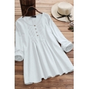 Leisure Women's Blouse Solid Color Pleated Button Detail Round Neck Long-sleeved Relaxed Fit Pullover Blouse