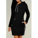 Girls Fashion Dress Solid Color Long Sleeve Drawstring Mini Sheath Hoodie Dress