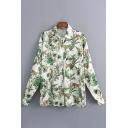 Bamboo Bird Printed Lapel Collar Long Sleeve Shirt