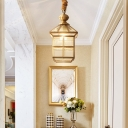 Clear Glass House Shaped Hanging Lamp Traditional 1-Light Dining Table Down Lighting Pendant in Gold