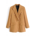 Elegant Women's Suit Jacket Plain Double Breasted Flap Pocket Notched Lapel Collar Long Sleeves Regular Fitted Suit Jacket