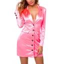 Elegant Ladies Dress Long Sleeve Notched Collar Button Up Solid Color Short Sheath Blazer Dress