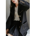 Leisure Women's Suit Jacket Contrast Stitching Button Closure Long-sleeved Regular Fitted Suit Jacket