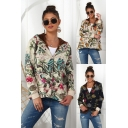Vintage Womens Jacket All Over Floral Print Sherpa Lined Long Sleeve Hooded Button Up Loose Jacket