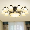 9/11/14-Bulb Milky Glass Semi Flush Traditional Black Bell Shaped Family Room Ceiling Mounted Light
