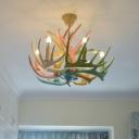 Rural Artificial Antler Chandelier 4/6-Light Resin Hanging Ceiling Light in Beige/Pink/Khaki for Kitchen
