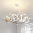 Resin Deer Horn Shaped Drop Lamp Lodge Style 8/9/12 Lights Bedroom Chandelier Lighting in White/Yellow