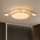 Orbit Shaped Bedroom Flush Light Crystal Prism Postmodern LED Ceiling Mount Lamp in Black/Gold, 26.5