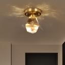 Gemstone Mini Ceiling Mount Light Postmodern Cut-Crystal LED Foyer Flush-Mount Light Fixture in Gold