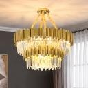 1/2-Tier Hanging Light Fixture Postmodern Crystal 21/22/27 Lights Gold Chandelier Pendant Light, 29.5