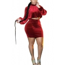 Popular Womens Set Solid Color Long Sleeve Crew Neck Loose Crop Tee & Tight Skirt Set