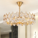 Gold Round/Rectangle Chandelier Postmodern 10/12/16 Lights Faceted Crystal Hanging Lamp, Small/Medium/Large