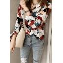 Trendy Women's Shirt Floral Pattern Button-down Spread Collar Split Long-sleeved Regular Fitted Shirt Blouse