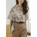 Trendy Women's Shirt Blouse Geometric Pattern Button Closure Turn-down Collar Mid Sleeves Regular Fitted Shirt Blouse