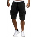 Casual Shorts Solid Color Pleated Flap Pockets Side Pockets Drawstring Elastic Waist Knee Length Regular Fitted Shorts