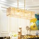 3/4 Lights Rectangular Island Light Fixture Modern Black/Gold Crystal Prism Pendant Lamp over Table