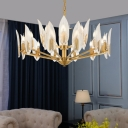 Clear Crystal Foliage Chandelier Lamp Contemporary 6/8/10 Bulbs Dining Room Pendant Light in Brass